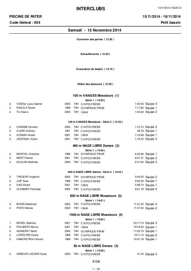 INTERCLUBS PISCINE DE PATER Code fédéral : 004 Petit bassin 15/11/2014 - 16/11/2014 14/11/2014 18:29:14 Samedi - 15 Novemb...