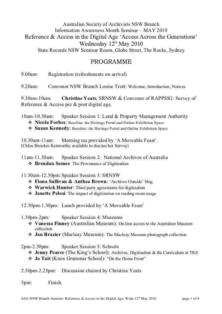 Australian Society of Archivists NSW Branch                      Information Awareness Month Seminar – MAY 2010   Referenc...