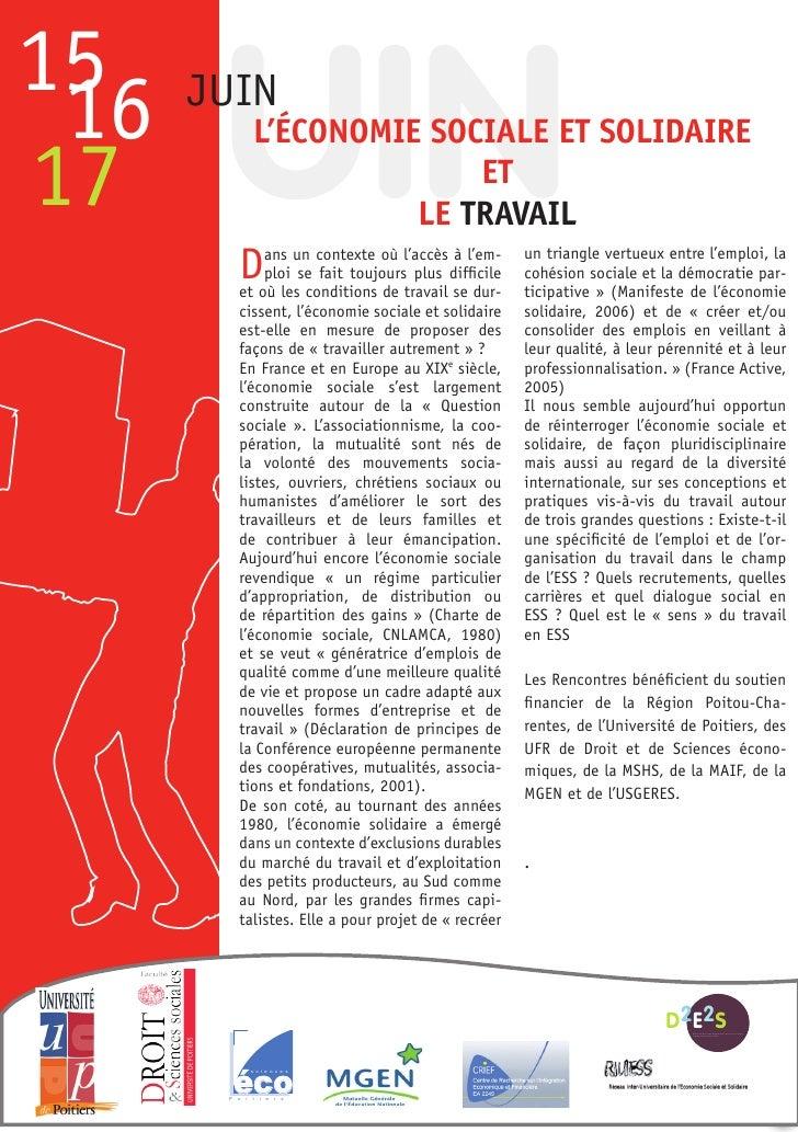 JUIN15 16   JUIN             L'Économie sociaLe et soLidaire17                         et                       Le travaiL...