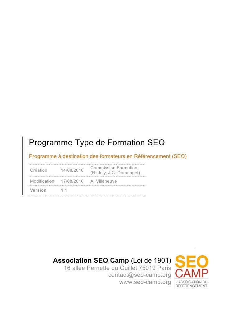 Programme type de formation SEO/Référencement