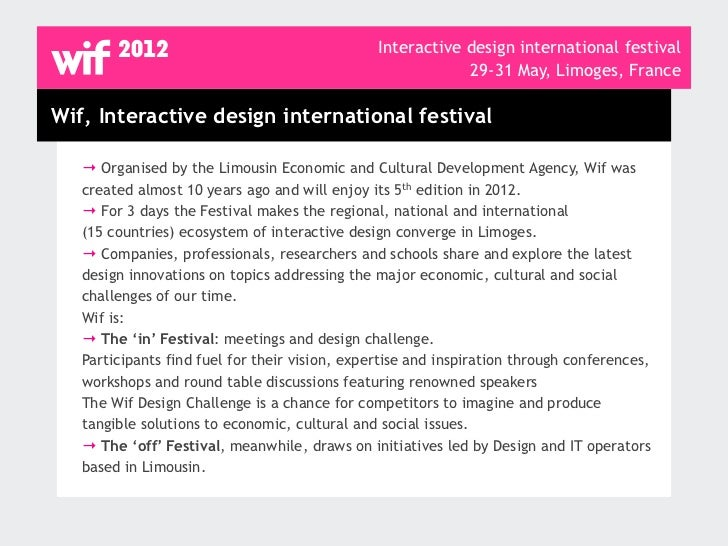 Wif, Interactive design international festival, programme Slide 2