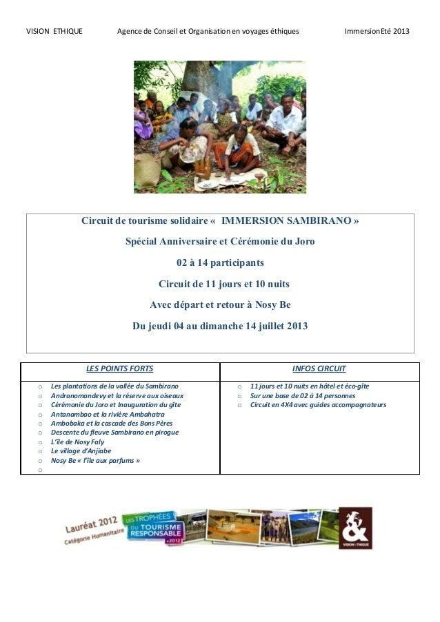VISION ETHIQUE Agence de Conseil et Organisation en voyages éthiques ImmersionEté 2013Circuit de tourisme solidaire « IMME...