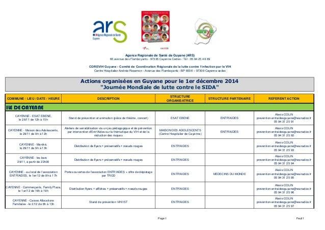 COMMUNE / LIEU / DATE / HEURE DESCRIPTION  STRUCTURE  ORGANISATRICE  STRUCTURE PARTENAIRE REFERENT ACTION  CAYENNE - ESAT ...