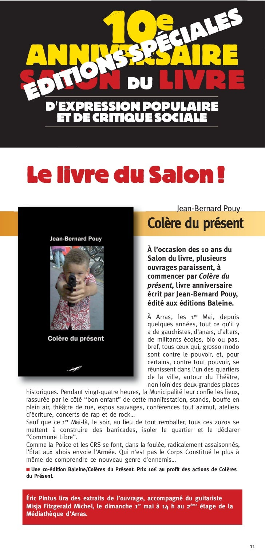 10eANNIVERSAIRESALON DU LIVRE       DEXPRESSION POPULAIRE         ET DE CRITIQUE SOCIALELe livre du Salon !               ...