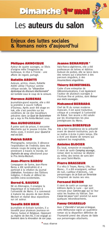 Dimanche 1er mai   Les auteurs du salonEnjeux des luttes sociales& Romans noirs d'aujourd'huiPhilippe ANNOCQUE            ...