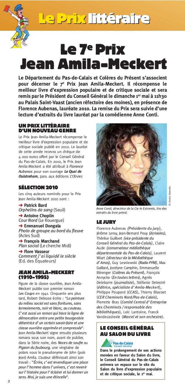 Le Prix littéraire          Le 7e Prix     Jean Amila-Meckert    Le Département du Pas-de-Calais et Colères du Présent s'a...