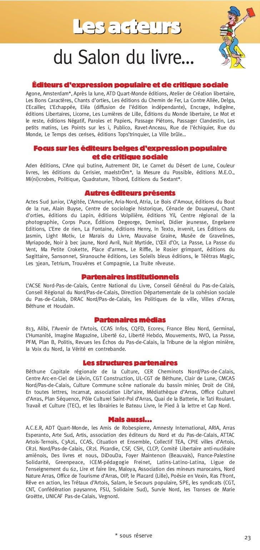 Les acteurs            du Salon du livre…  Éditeurs d'expression populaire et de critique socialeAgone, Amsterdam*, Après ...