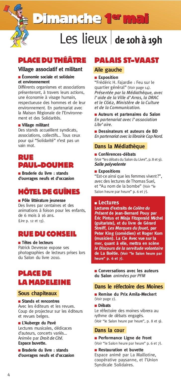 Dimanche 1er mai                 Les lieux de 10h à 19h    PLACE DU THÉÂTRE                         PALAIS ST-VAAST    Vil...