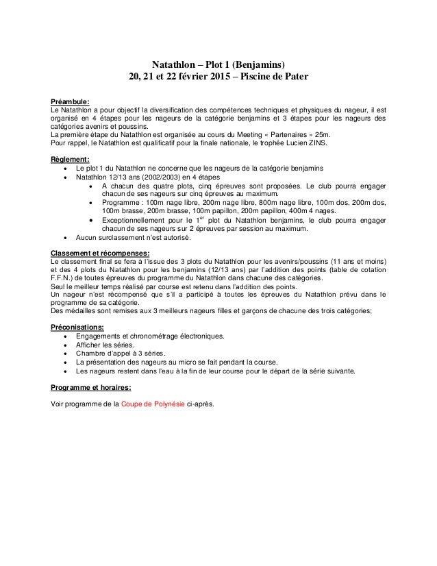Natathlon – Plot 1 (Benjamins) 20, 21 et 22 février 2015 – Piscine de Pater Préambule: Le Natathlon a pour objectif la div...