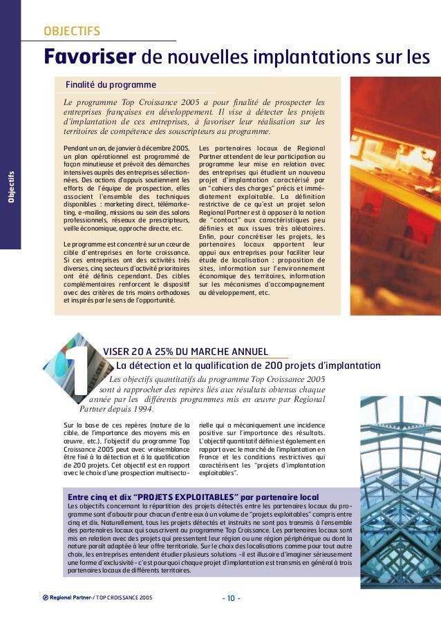OBJECTIFS  Favoriser de nouvelles implantations sur les Finalité du programme  Objectifs  Le programme Top Croissance 2005...