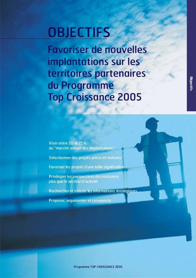 """OBJECTIFS  Viser entre 20 et 25% du """"marché annuel des implantations"""" Sélectionner des projets précis et matures Favoriser..."""