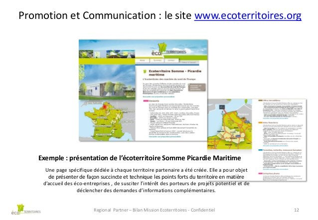Promotion et Communication : le site www.ecoterritoires.org  Exemple : présentation de l'écoterritoire Somme Picardie Mari...