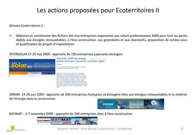 Les actions proposées pour Ecoterritoires II Mission Ecoterritoires 2 :   Sélection et constitution des fichiers des éco-...