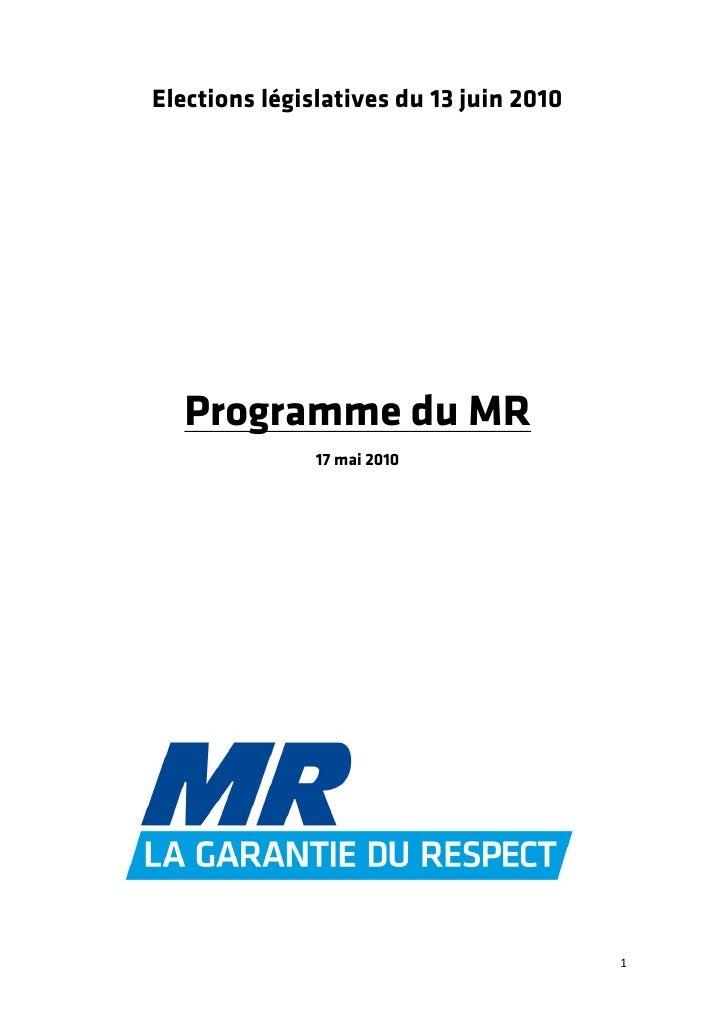 Programme MR pour les Législatives 2010