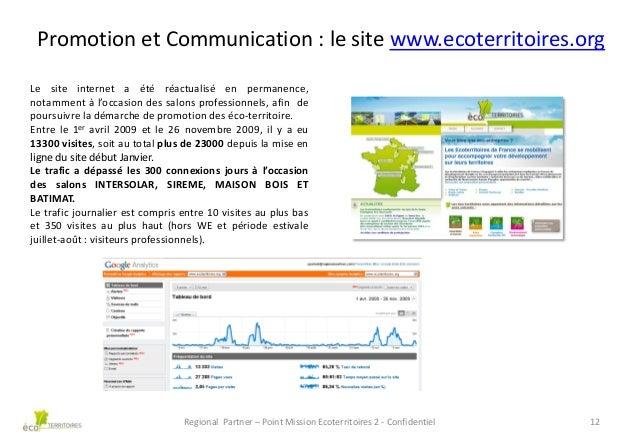 Promotion et Communication : le site www.ecoterritoires.org Le site internet a été réactualisé en permanence, notamment à ...