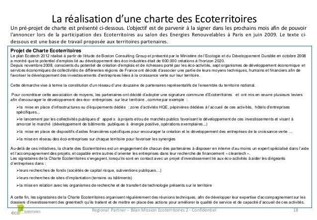 La réalisation d'une charte des Ecoterritoires Un pré-projet de charte est présenté ci-dessous. L'objectif est de parvenir...