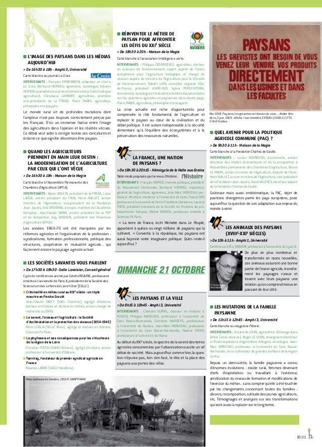 10/11 ■■ L'IMAGE DES PAYSANS DANS LES MÉDIAS AUJOURD'HUI  De 16h30 à 18h - Amphi 3, Université Carte blanche au journal La...