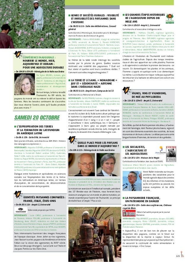 Conférence inaugurale : NOURRIR LE MONDE, HIER, AUJOURD'HUI ET DEMAIN : POUR UNE AGRICULTURE DURABLE De19h30à20h30-Hémicyc...