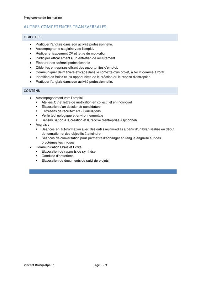 modele lettre de motivation pour formation afpa
