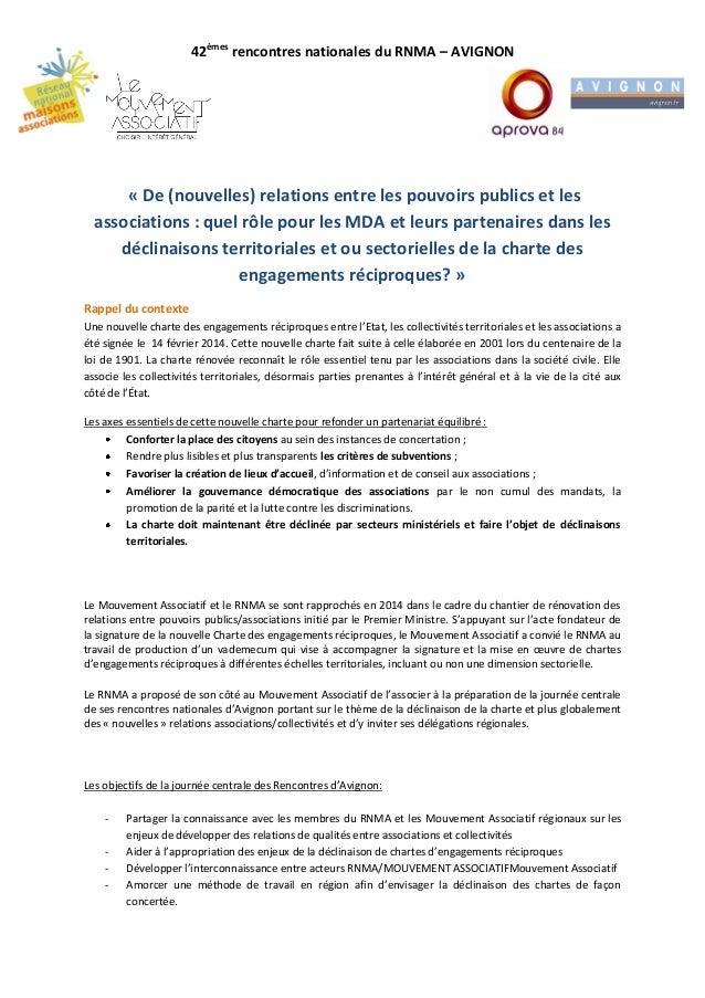 42èmes rencontres nationales du RNMA – AVIGNON « De (nouvelles) relations entre les pouvoirs publics et les associations :...