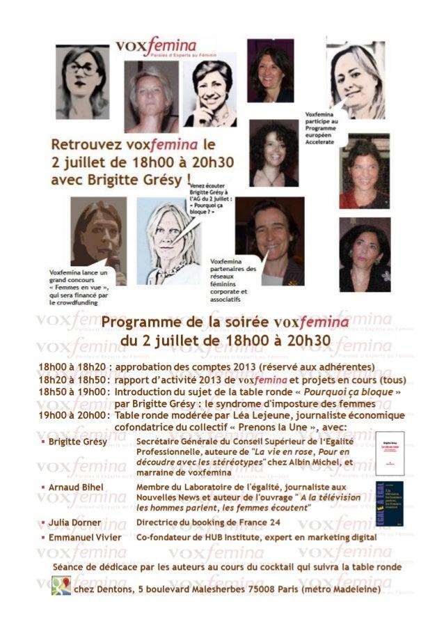 """Participez à la table ronde avec voxfemina et Brigitte Grésy le 2 juillet 2014 """"Pourquoi ça bloque ?"""" suivi de dédicaces"""