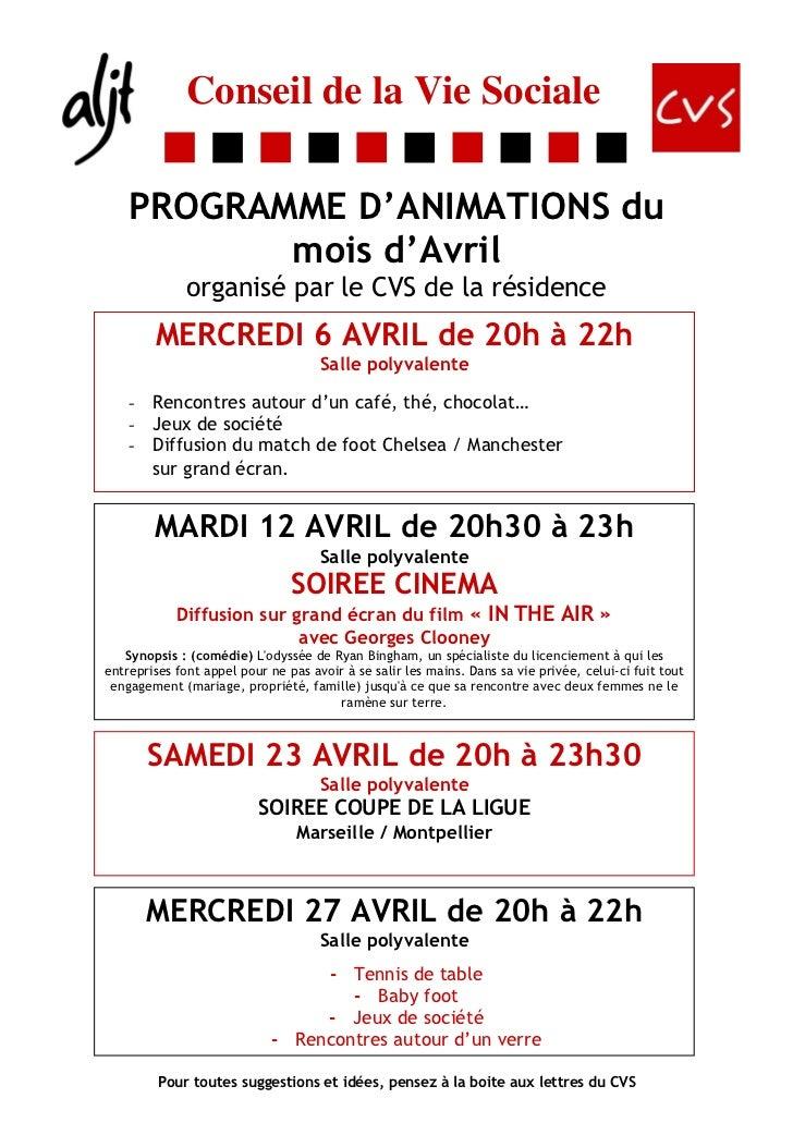 Conseil de la Vie Sociale    PROGRAMME D'ANIMATIONS du           mois d'Avril              organisé par le CVS de la résid...