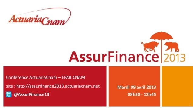 Conférence ActuariaCnam – EFAB CNAMsite : http://assurfinance2013.actuariacnam.net   Mardi 09 avril 2013   @AssurFinance13...