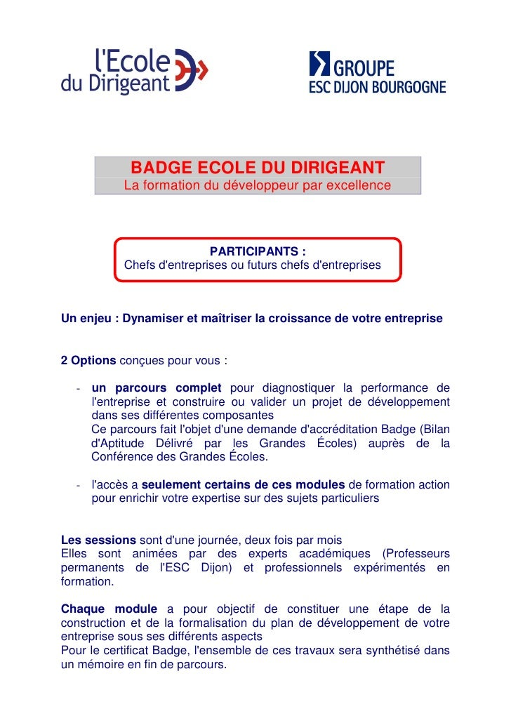 BADGE ECOLE DU DIRIGEANT            La formation du développeur par excellence                               PARTICIPANTS ...