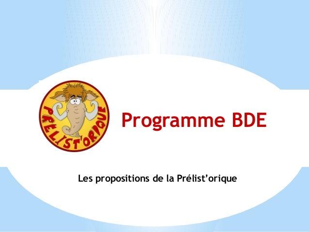 Les propositions de la Prélist'orique Programme BDE