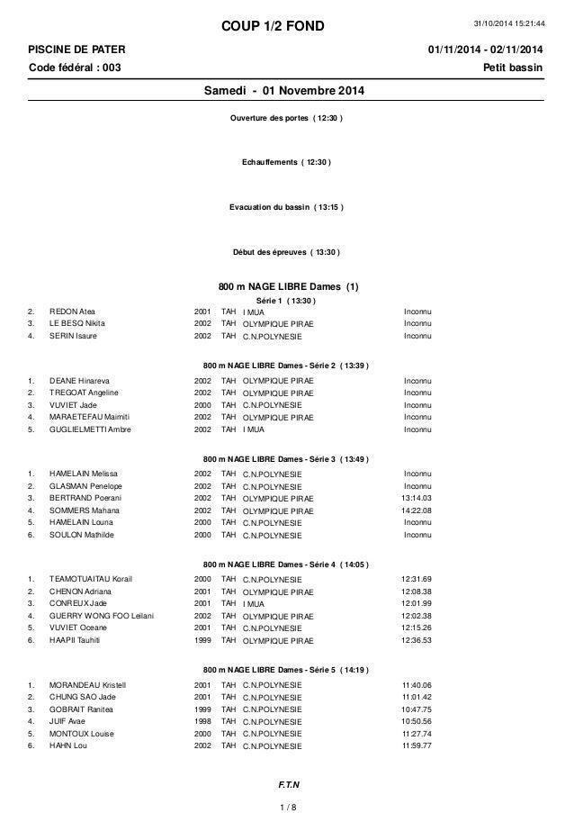 COUP 1/2 FOND  31/10/2014 15:21:44  PISCINE DE PATER  Code fédéral : 003 Petit bassin  01/11/2014 - 02/11/2014  Samedi - 0...