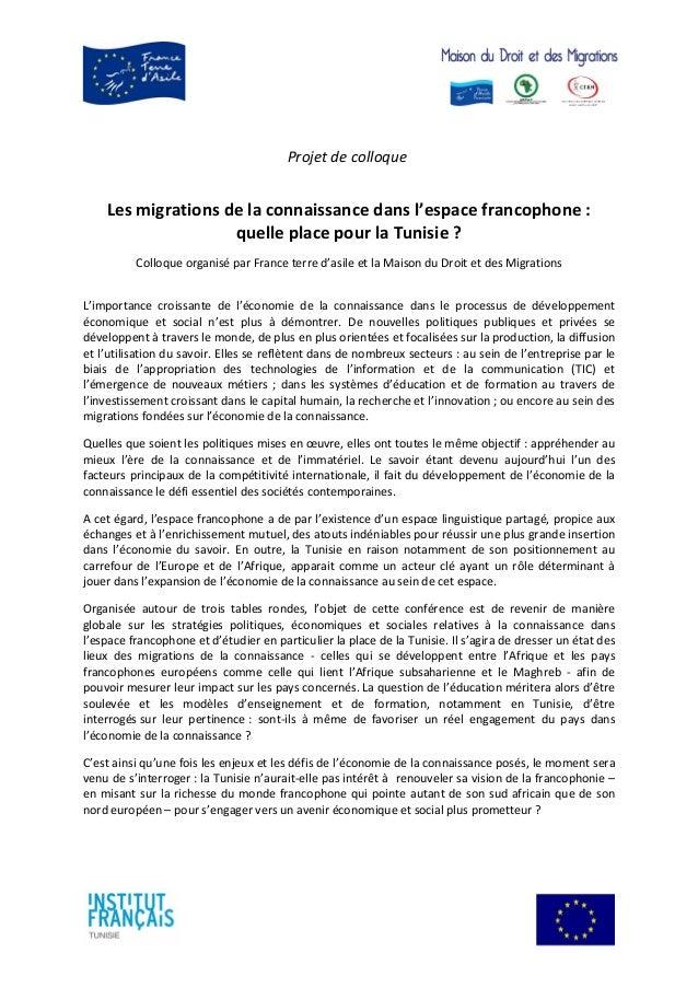 Projet de colloque Les migrations de la connaissance dans l'espace francophone : quelle place pour la Tunisie ? Colloque o...