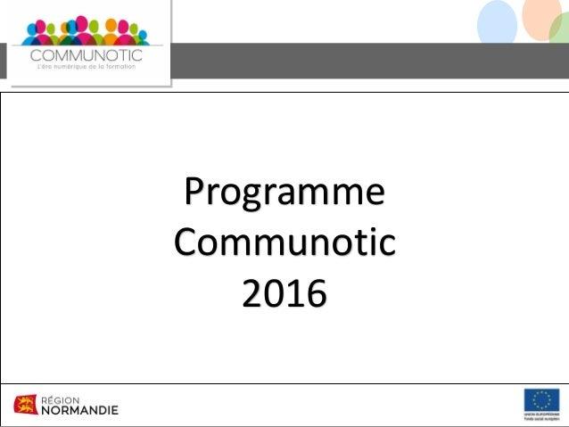 Programme Communotic 2016