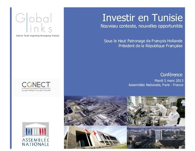 Investir en Tunisie                                        Nouveau contexte, nouvelles opportunitésAction Tank inspiring E...