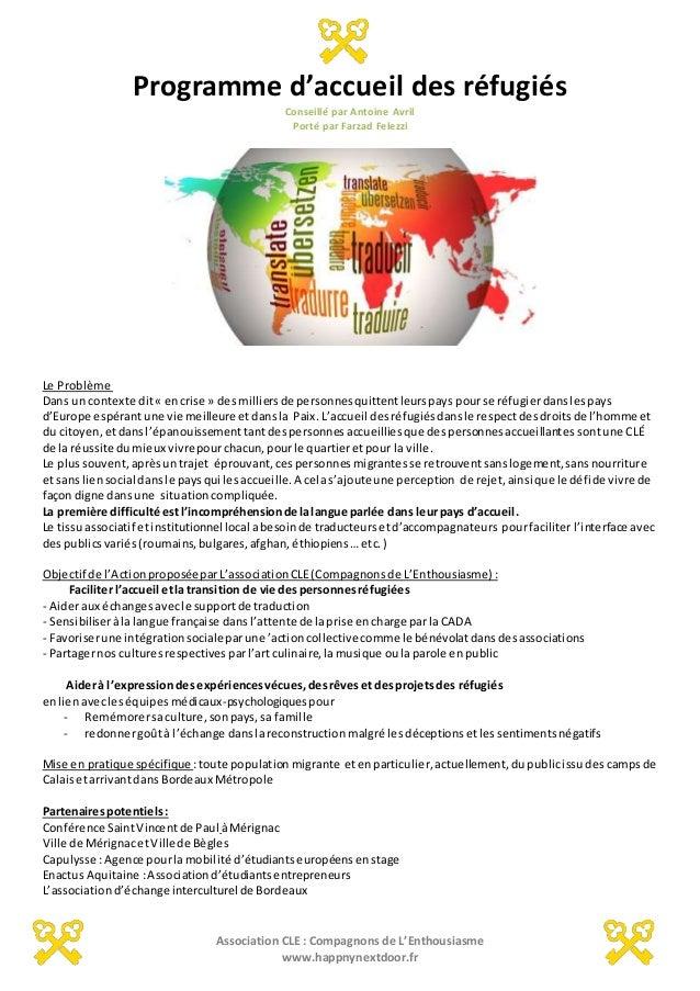 Association CLE : Compagnons de L'Enthousiasme www.happnynextdoor.fr Programme d'accueil des réfugiés Conseillé par Antoin...
