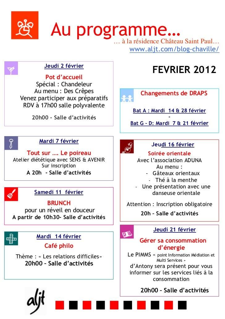 Au programme…            … à la résidence Château Saint Paul…                                             www.aljt.com/blo...