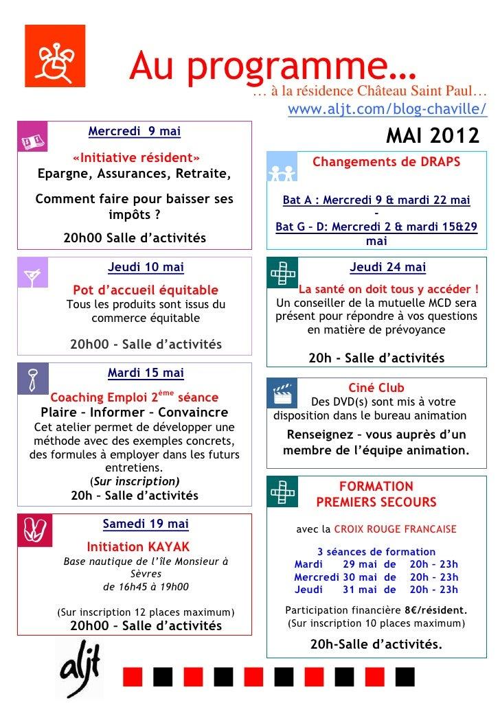 Au programme…           … à la résidence Château Saint Paul…                                                www.aljt.com/b...