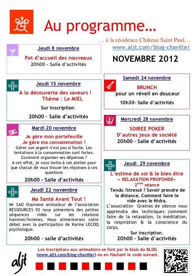 Au programme…                                                  … à la résidence Château Saint Paul…              Jeudi 8 n...