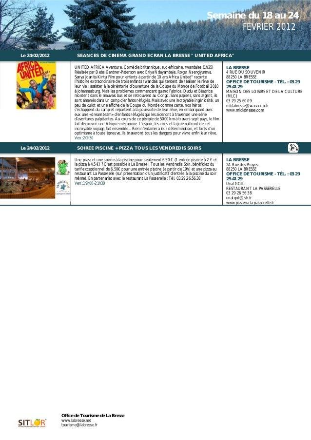 Programme des animations du 18 au 24 février 2012
