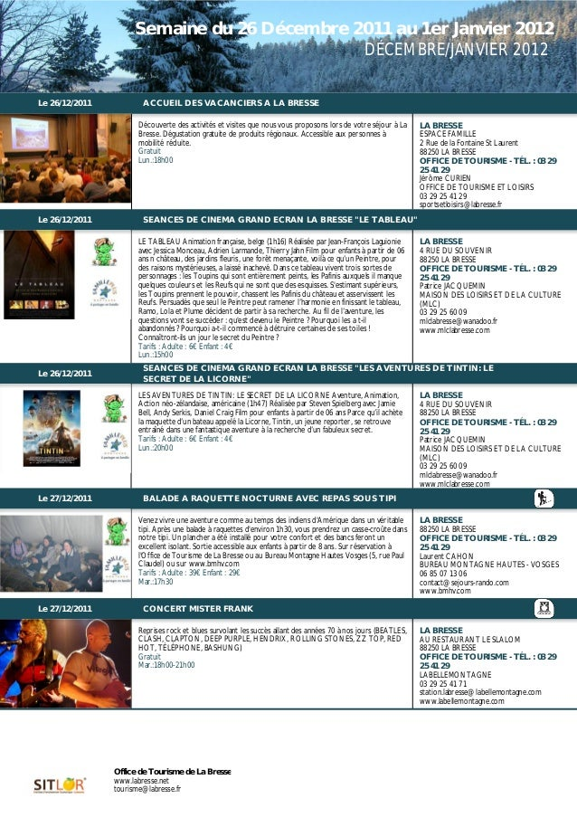 Semaine du 26 Décembre 2011 au 1er Janvier 2012                                             DÉCEMBRE/JANVIER 2012         ...