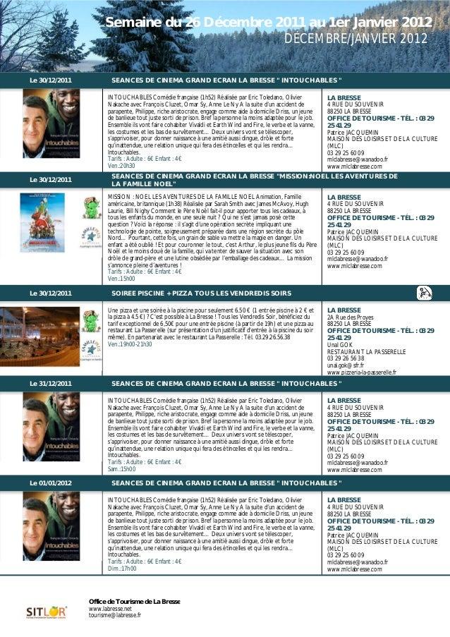 Programme des animations du 26 décembre au 1er janvier