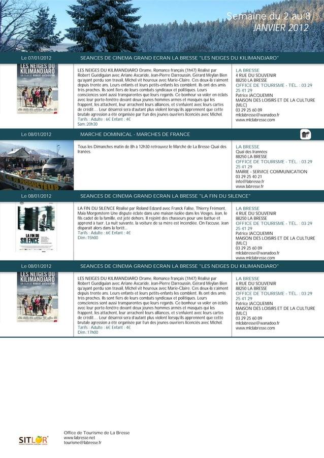 Programme des animations du 2 au 8 janvier 2012