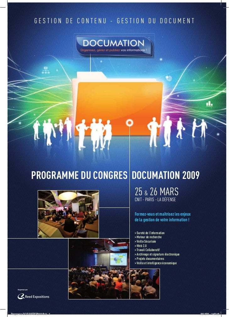 GESTION DE CONTENU - GESTION DU DOCUMENT               PROGRAMME DU CONGRES DOCUMATION 2009                               ...