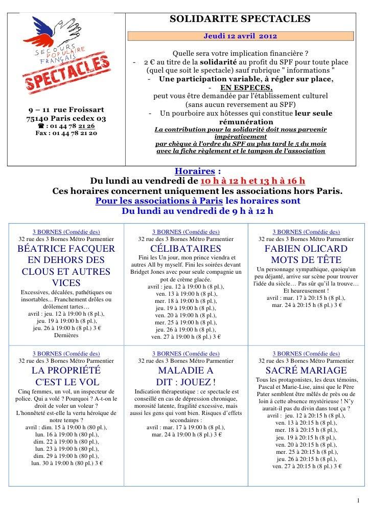 151B   SOLIDARITE SPECTACLES                                                                           Jeudi 12 avril 2012...