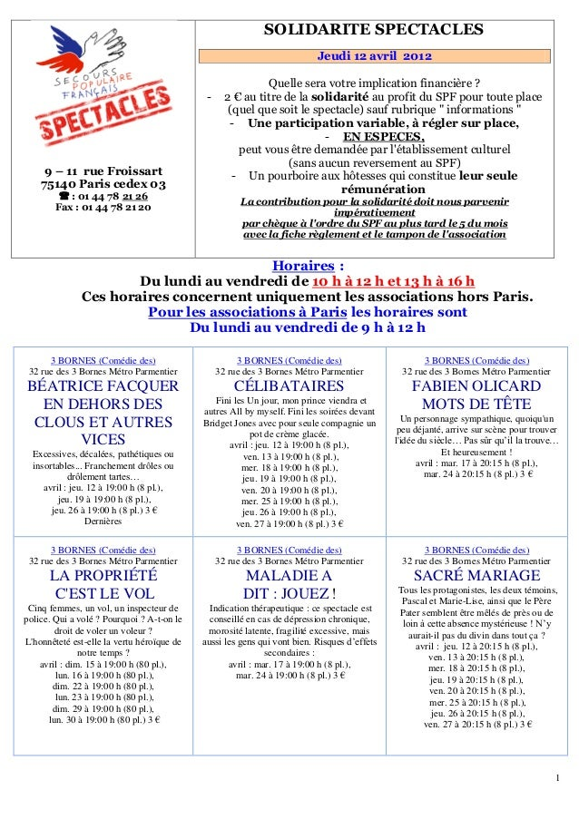 1 9 – 11 rue Froissart 75140 Paris cedex 03  : 01 44 78 U21 26 Fax : 01 44 78 21 20 151BSOLIDARITE SPECTACLES Jeudi 12 av...