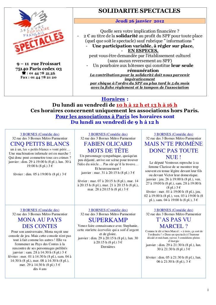 151B   SOLIDARITE SPECTACLES                                                                              Jeudi 26 janvier...