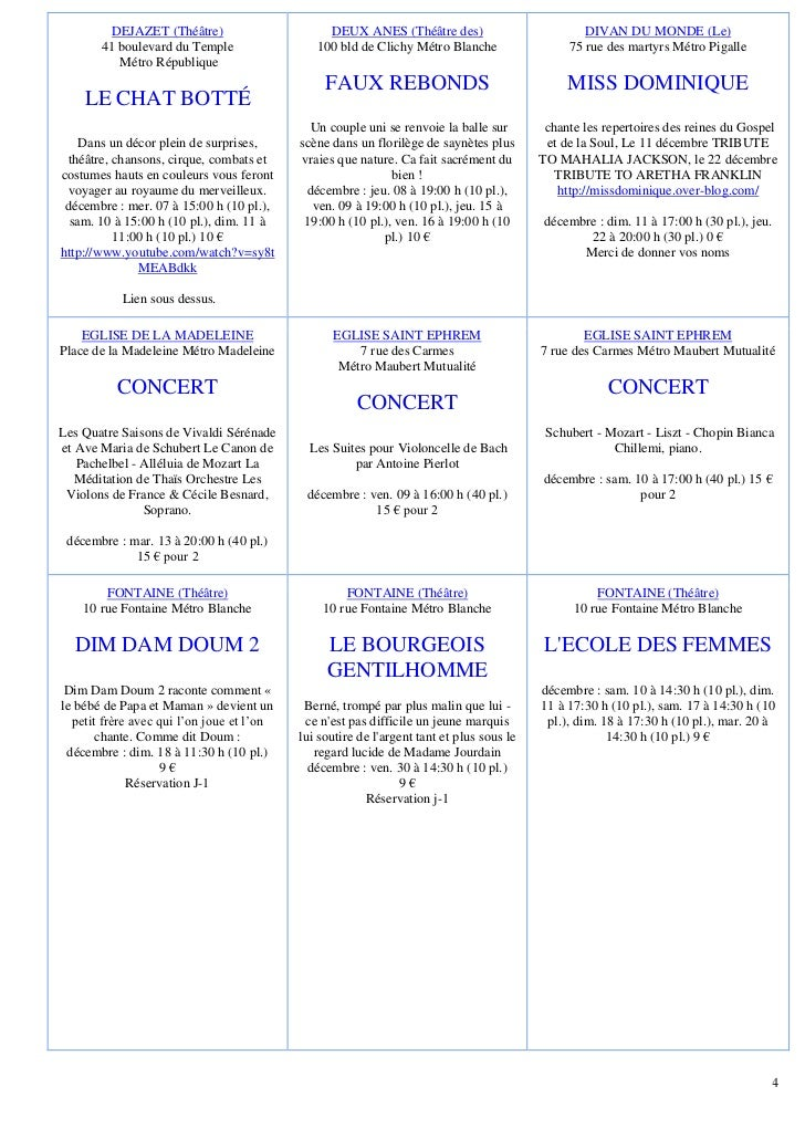 DEJAZET (Théâtre)                      DEUX ANES (Théâtre des)                           DIVAN DU MONDE (Le)       41 boul...