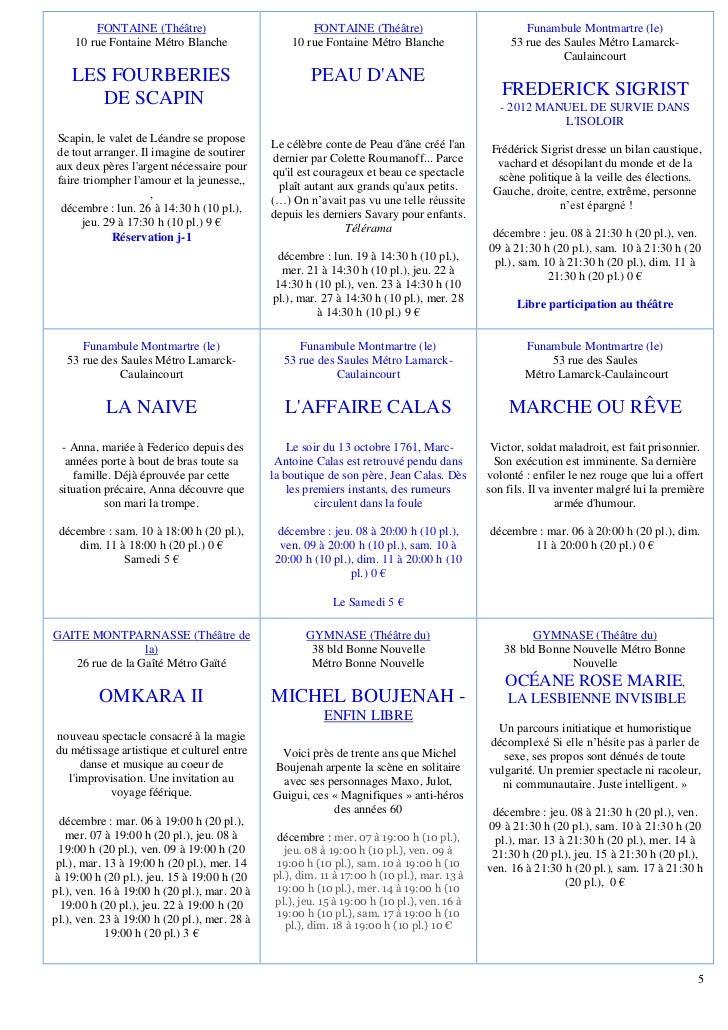 FONTAINE (Théâtre)                            FONTAINE (Théâtre)                            Funambule Montmartre (le)    1...