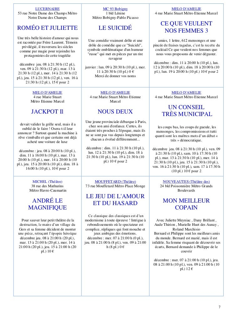 LUCERNAIRE                                    MC 93 Bobigny                                MELO DAMELIE53 rue Notre Dame d...