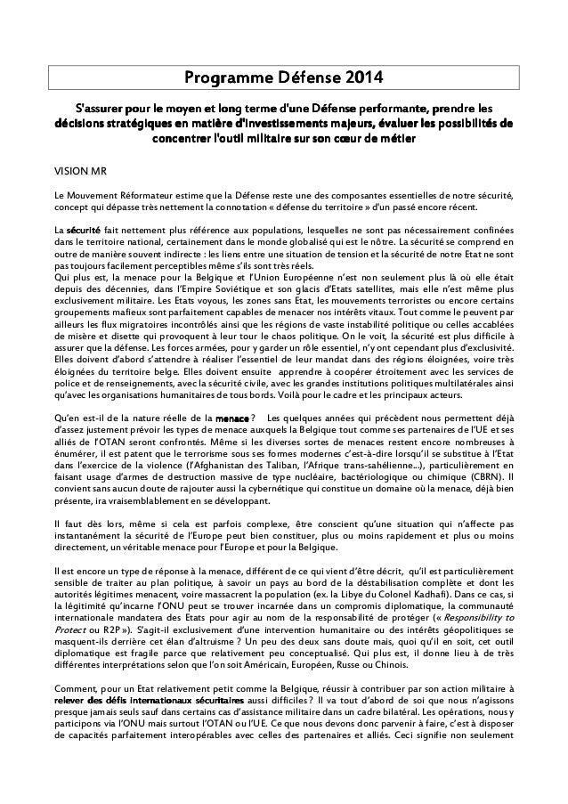 PPPPrrrrogramme Défenseogramme Défenseogramme Défenseogramme Défense 2014201420142014 S'assurer pour le moyen et long term...