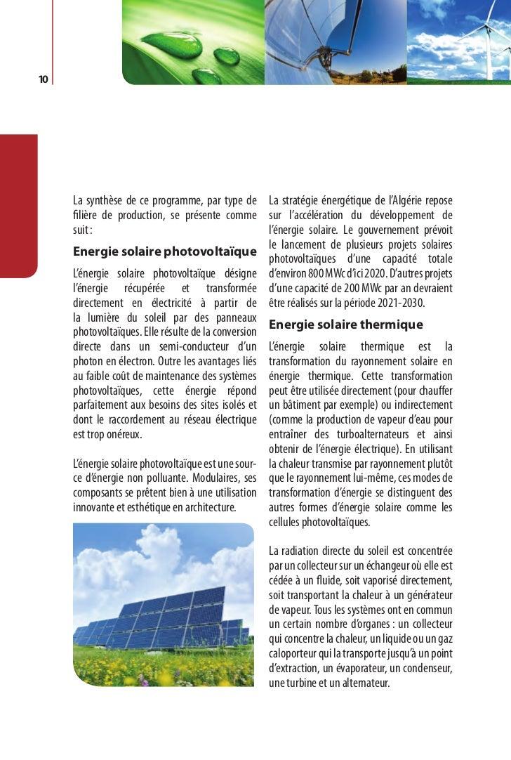 Programme des énergies renouvelables et de l'efficacité énergétique   11                                                De...